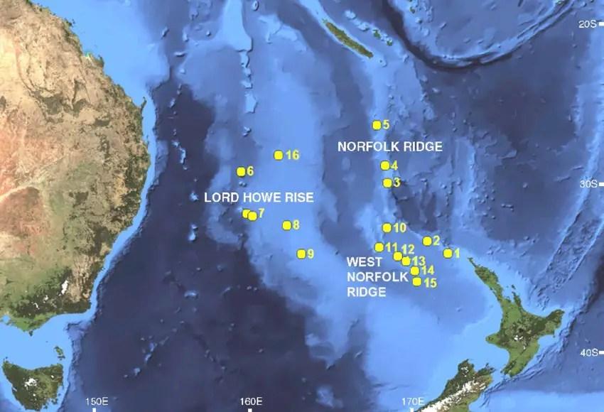 Áreas de recolección de muestras la misión NORFANZ.