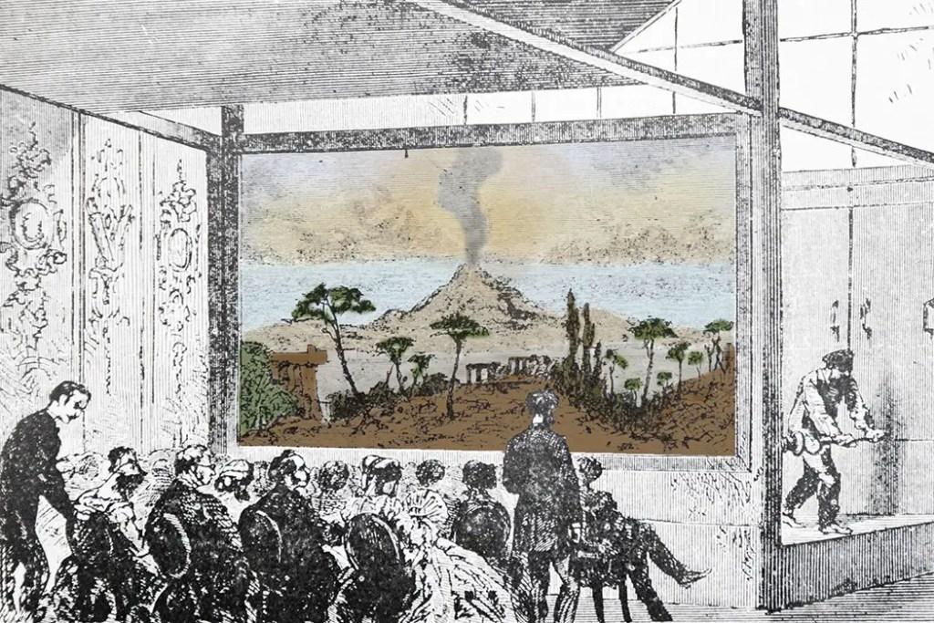 Ilustración de un teatro diorama de Louis Daguerre y Charles Marie Bouton