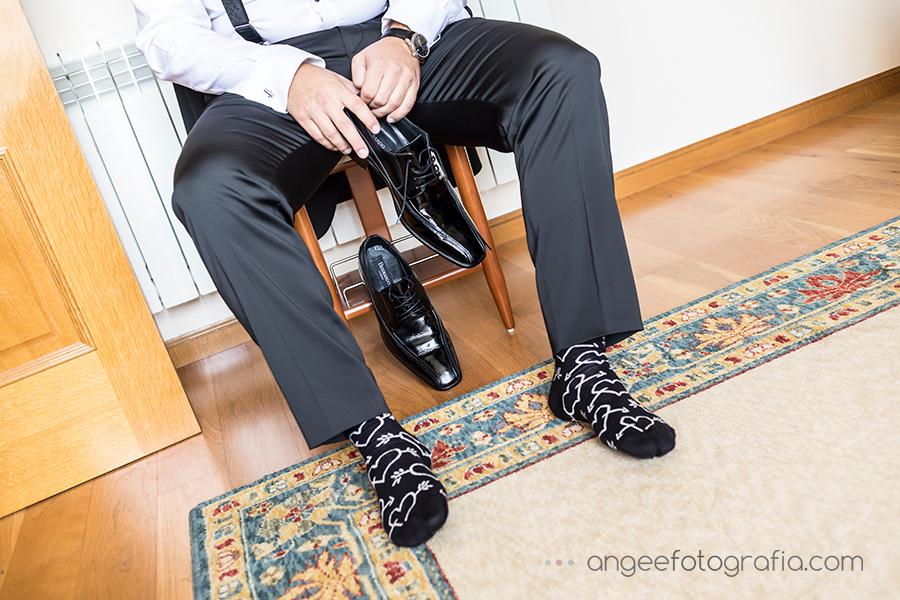 Preparativos del novio Zapatos Calcetines de boda Luarca