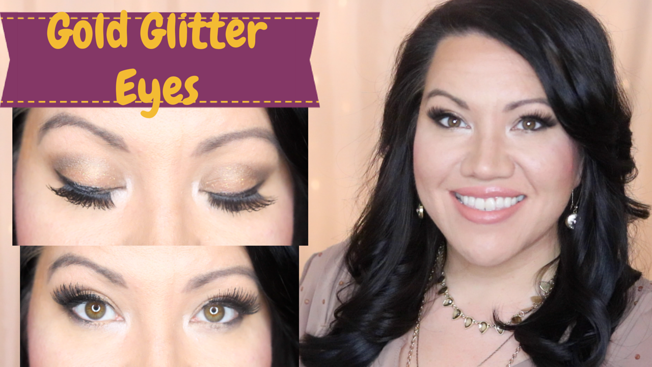 Gold Glitter Eye Makeup Look Using Only Drugstore Cosmetics Beauty