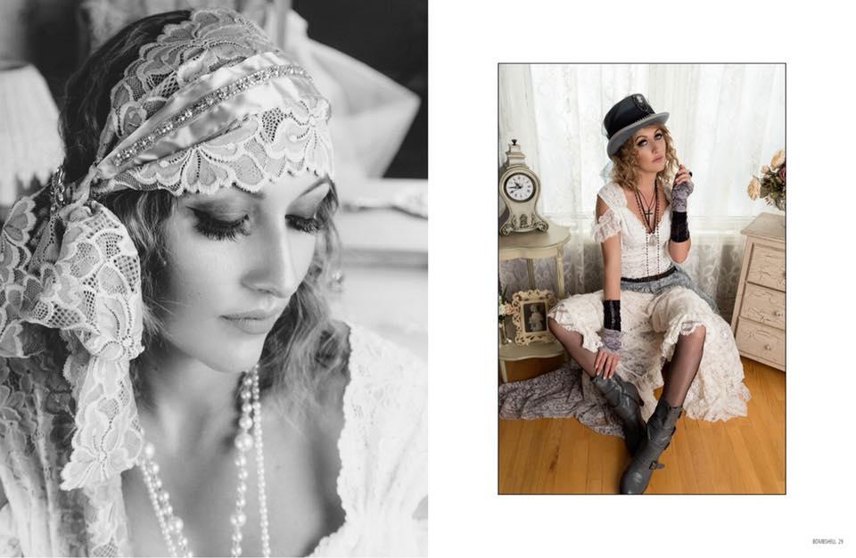 Flapper vintage look fashion designer pastel cabaret