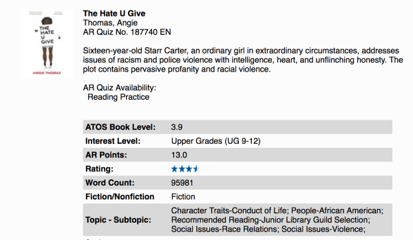 Screen Shot of THE HATE U GIVE from Accelerated Reader page