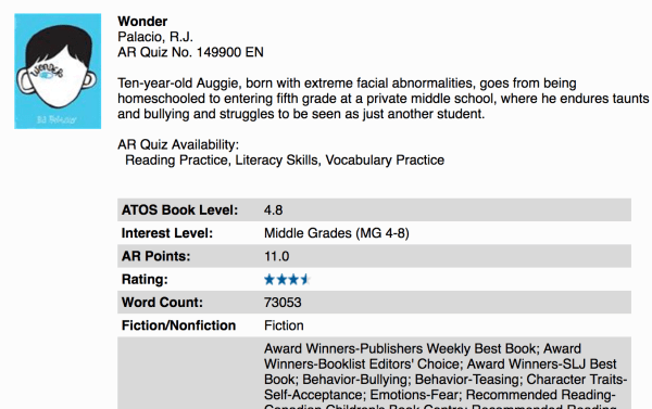 Screen Shot WONDER on Accelerated Reader website