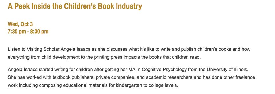 Screenshot of Purdue talk description. Title: A Peek Inside the Children's Book Industry