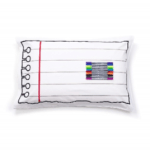 Pillow with lines to look like writing paper
