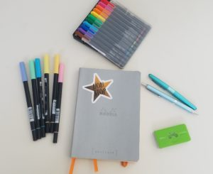 My 2019 Writing Bullet Journal with a few of my favorite tools