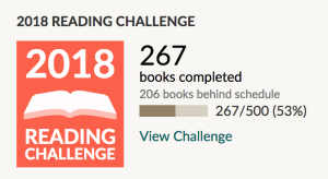 2018 Goodreads reading challenge - 267 books of 500