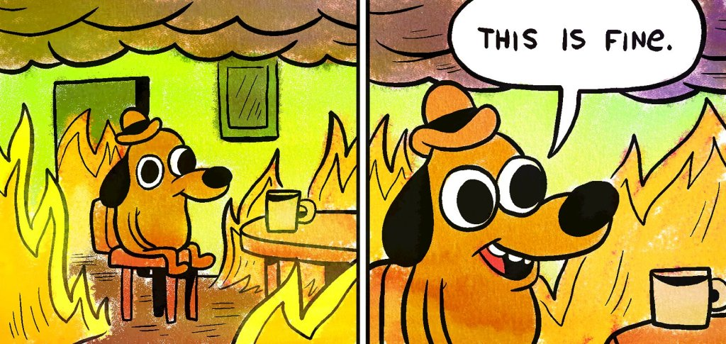 """The perfect meme for 2020: Two panel comic. Panel 1: of a dog sitting placidly in a chair in a room that is on fire.  Panel 2: close up of dog saying """"This is fine."""""""