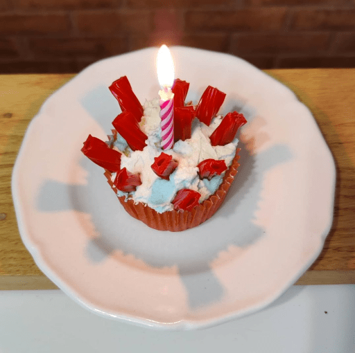 Cupcake decorated to look like coronavirus with a single candle.