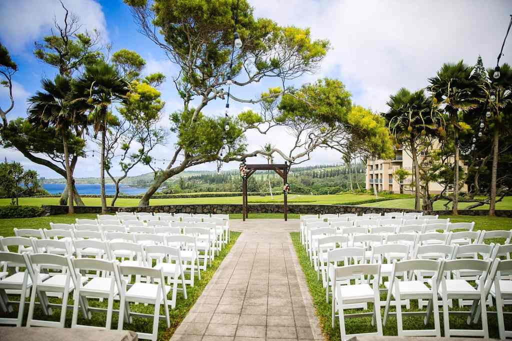 Ceremony set up at Steeple House at Kapalua