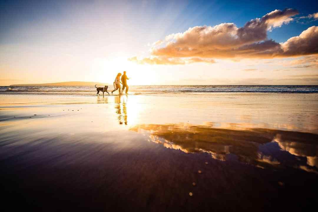 sky reflected in beach in maui, hawaii