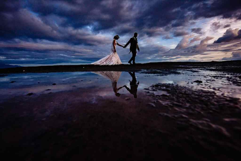 bride and groom moody maui wedding portrait