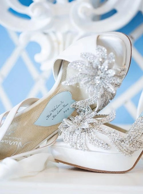 Angela Nuran custom made shoe with inscription