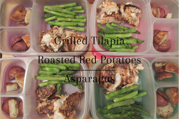 Grilled Tilapia, Roasted Potatoes, Asparagus Meal Prep