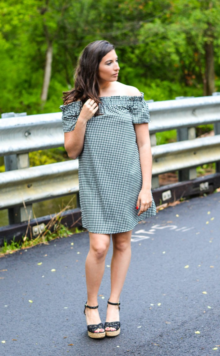 gingham off-the-shoulder dress