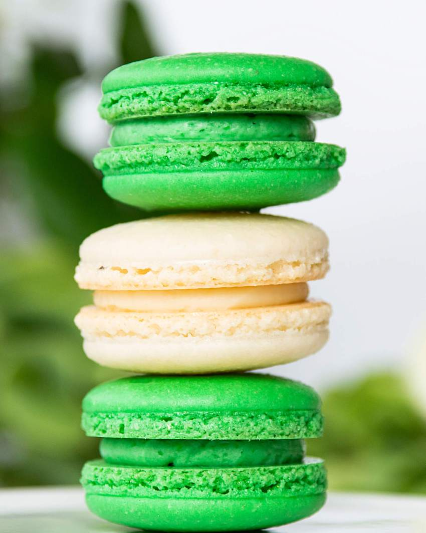 French macarons stacked vertically