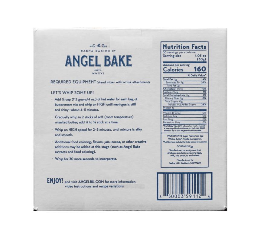Nutrition facts Swiss Buttercream Angel Bake