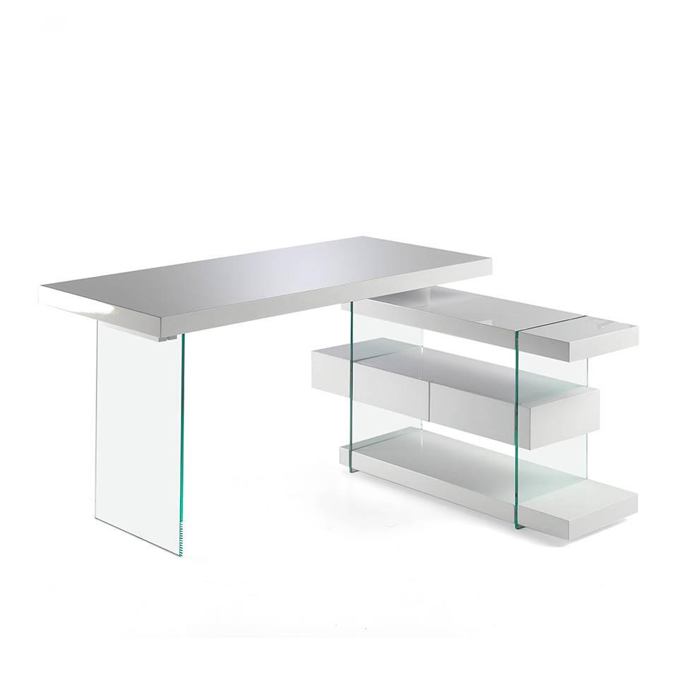 es escritorio de oficina en dm lacado con laterales de cristal templado y cajonera lateral en office desk in md lacquered with tempered glass