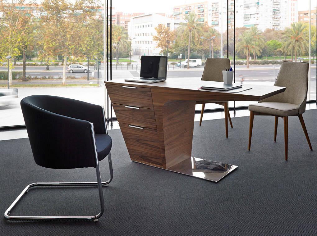 es escritorio de oficina en madera chapada de nogal en office desk in walnut veneered wood de schreibtisch in nussbaumfurnier fr bureau