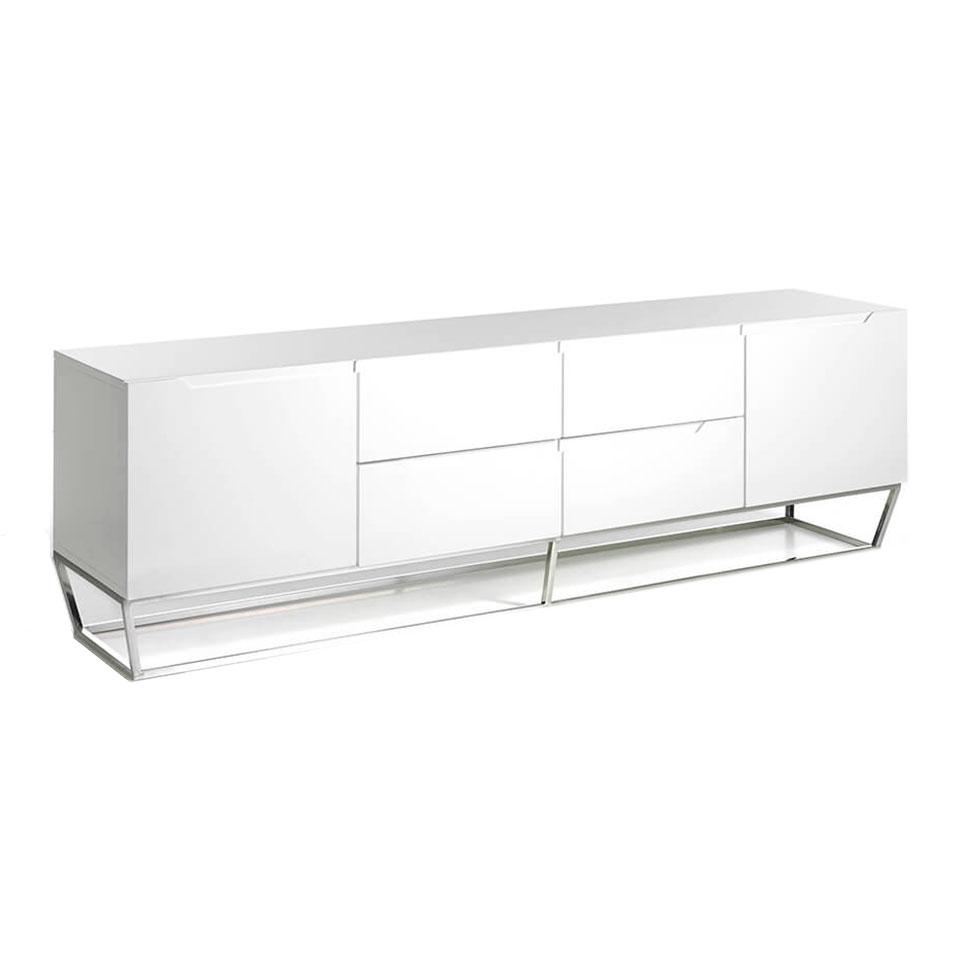 es mueble de tv en dm lacado con estructura de acero en tv unit made of lacquered mdf with stainless steel chromed structure fr meuble tv en mdf