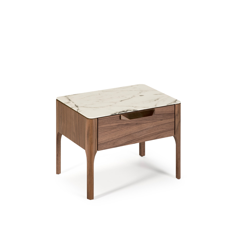 Bedside Table With Drawer Made Of Walnut Veneered Wood Angel Cerda S L