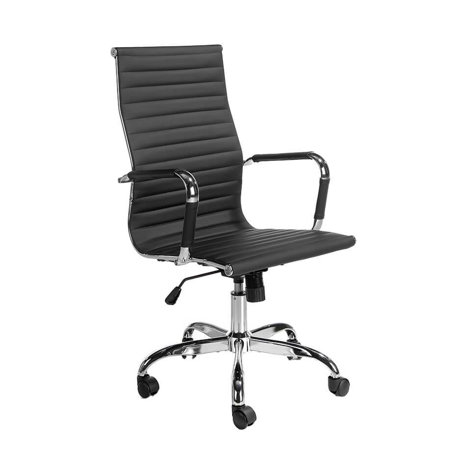 es sillon de oficina giratorio con reposabrazos en office armchair upholstered in black leatherette fr fauteuil de bureau avec accoudoirs tapisse