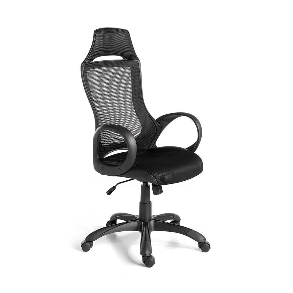 es sillon de oficina giratorio con reposabrazos en office armchair upholstered in black fabric fr fauteuil de bureau avec accoudoirs tapisse en