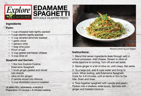 Explore Cuisine Edamame Spaghetti Recipe Card 4×6 printed recipe card. Laid out in Adobe InDesign