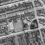 Aerial view of the reduced Flavelle estate in 1951