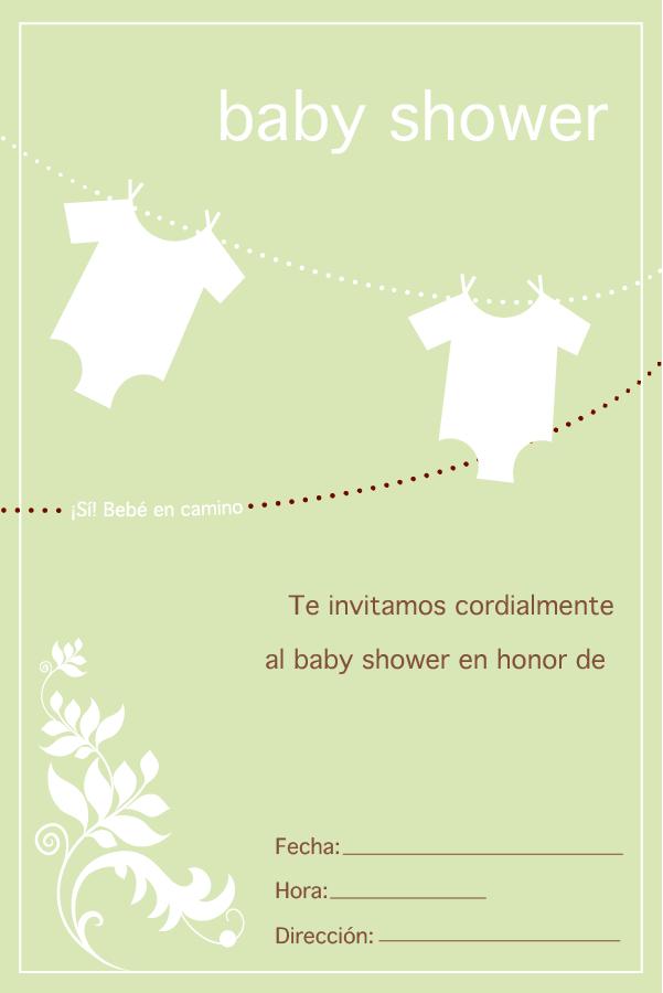 Plantilla imprimible invitación baby shower
