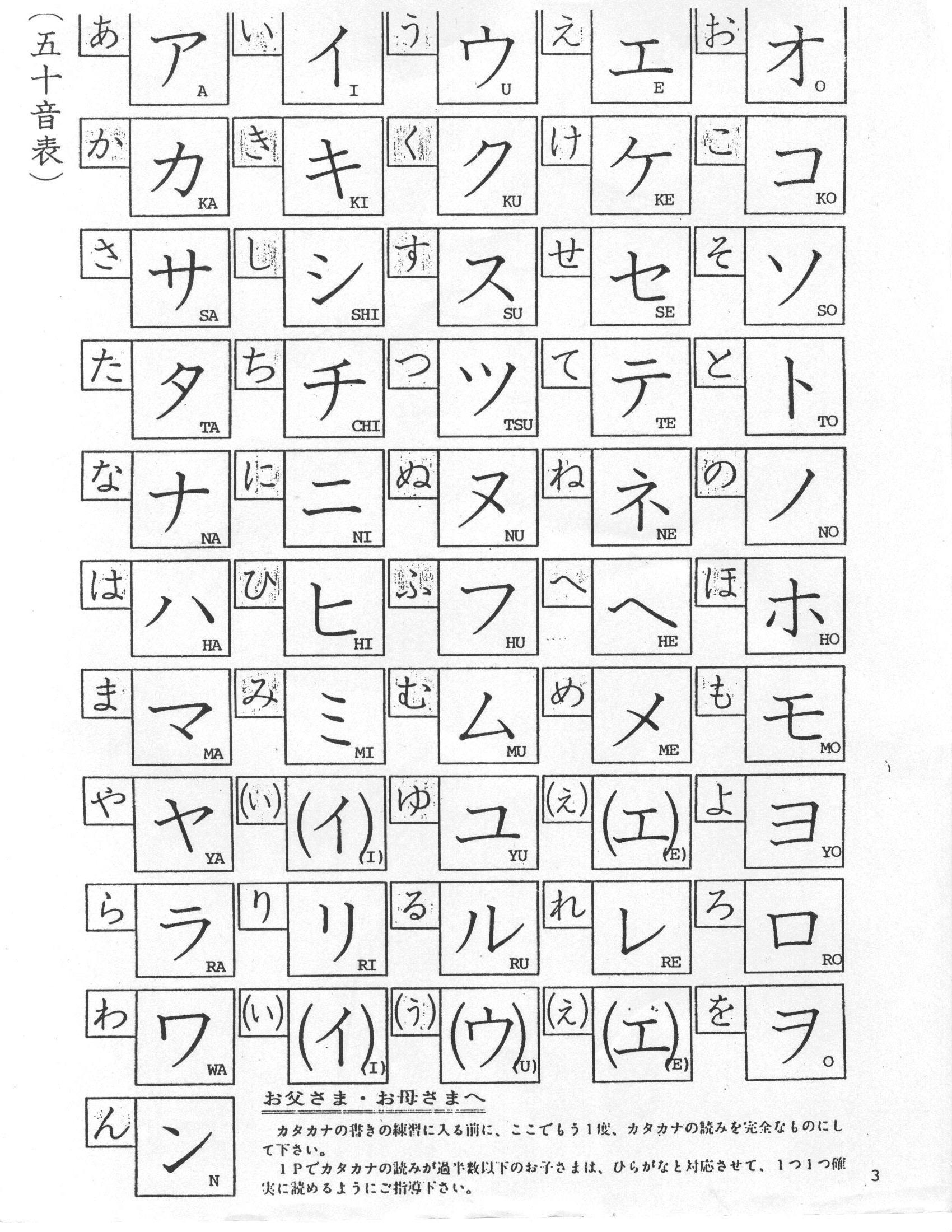 Katakana Chart Printable