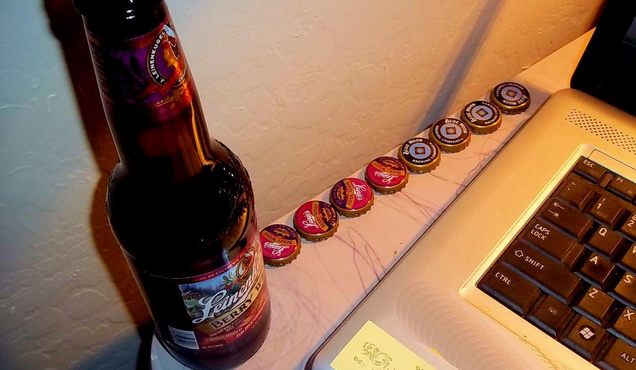 Eight beer bottle caps