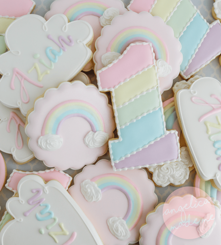 Pastel Rainbow Birthday Cookies