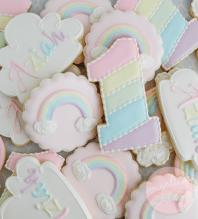 Pastel Rainbow Birthday Cookies