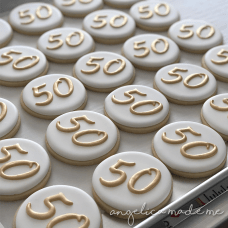 Gold 50th Birthday Cookies