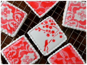 Airbrushed Bird Lace Cookies