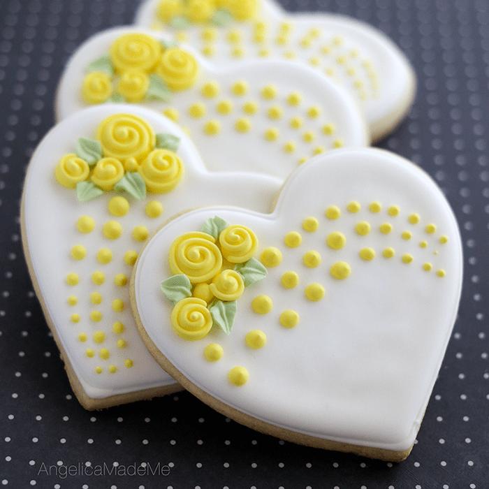 Yellow Flower Heart Cookies