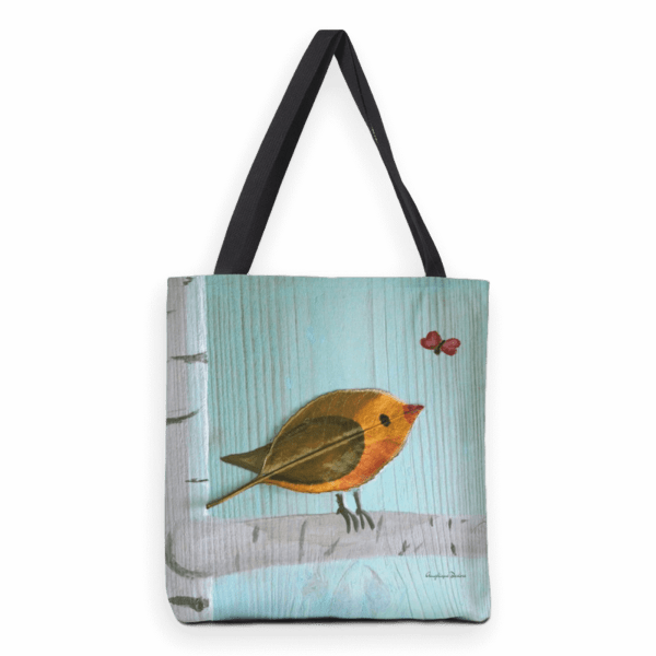 Robin; heavy duty tote bag with mixed media illustration print.