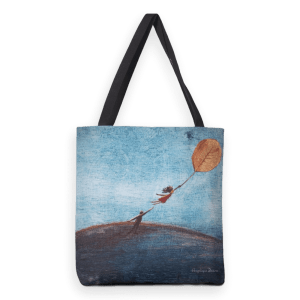 Taken; heavy duty tote bag with mixed media illustration print.