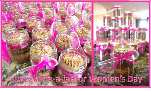 chocolate cupcakes, chocolate mousse icing, cupcake-in-a-jar