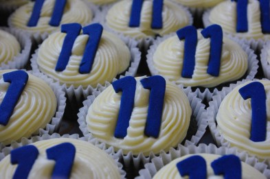 blue velvet cupcakes, cream cheese icing, sugarpaste eleven