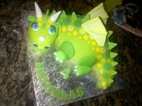 dragon-shaped novelty cake