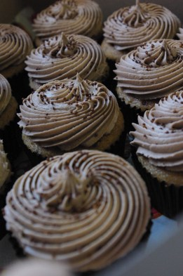 cappuccino cupcakes, cappuccino butter icing