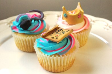 vanilla cupcakes, vanilla butter icing, handmade sugarpaste decorations