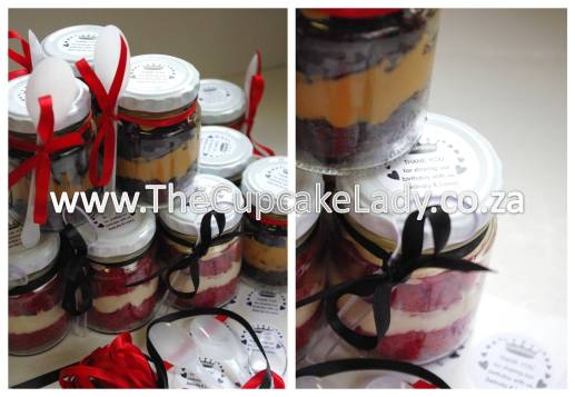cupcake-in-a-jar, chocolate, red velvet, cream cheese icing, caramel, thank you stickers, party favours