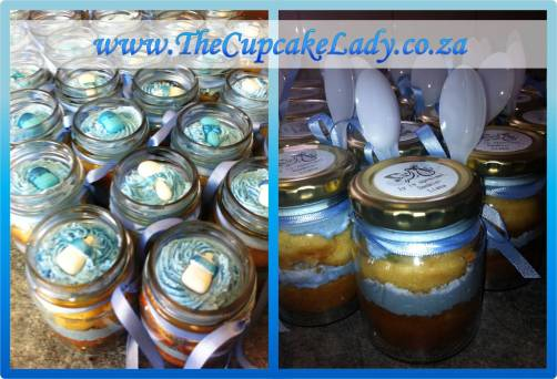 cupcake-in-a-jar, baby shower, blue and white, vanilla