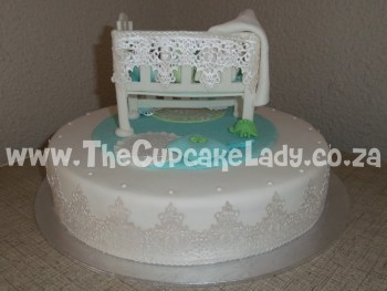 baby shower, nursery-theme, cake, red velvet cake, cream cheese icing, cot and all its extras - the lace, blankets, cushions and all - are hand made of sugar paste and completely edible
