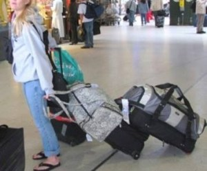 Is this you? Do you belong to Overpackers Anonymous? This looks like a rough way to begin or end a trip.