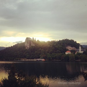 Sunset on Lake Bled. The lake during magic hour.