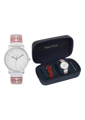 NAUTICA Unisex Wrist Watch Model CORAL GABLES Special Pack + Extra Strap NAPCGS007